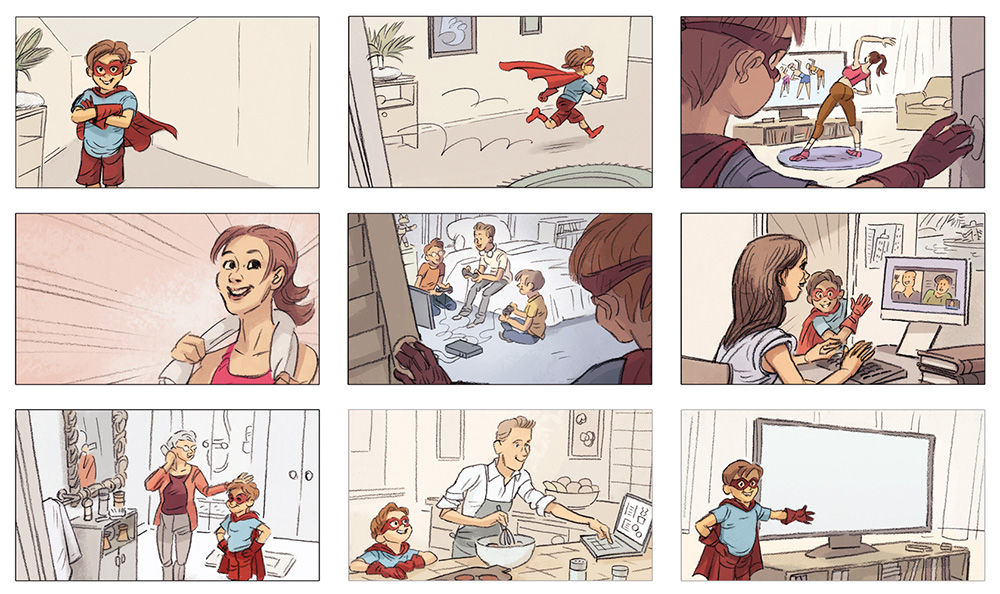 storyboard,storyboarder,storyboardeur,agence,communication,réseaux,famille,super-héros