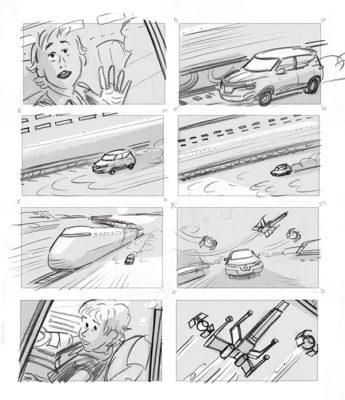"""Storyboard film publicitaire pour """"Renault Kadjar"""" ( lié avec la sortie du film Star Wars """"Solo"""" ) pour Les Improductibles ."""