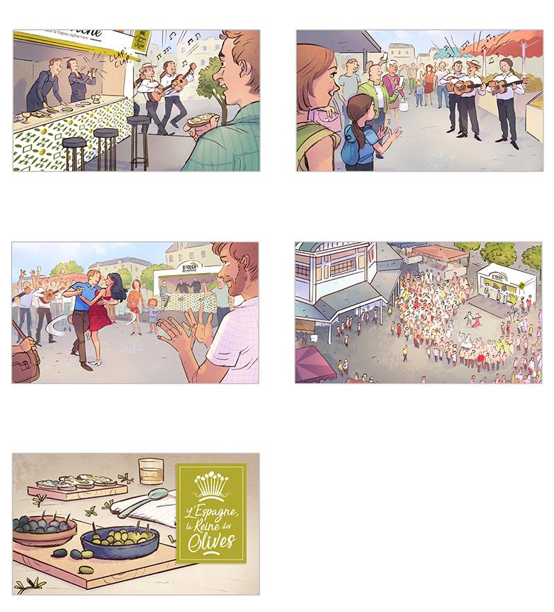 Storyboard Film Publicitaire pour les olives d'espagne